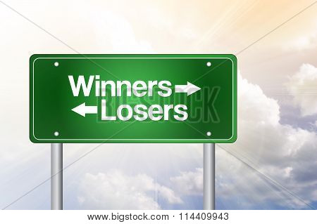 Winners, Losers Green Road Sign, Business Concept..