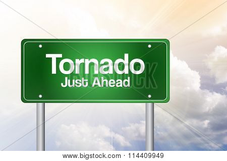 Tornado Green Road Sign Concept..