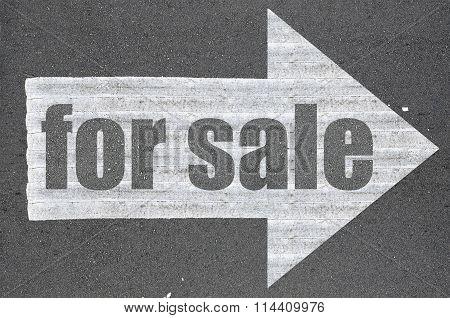 Arrow On Asphalt Road Written Word For Sale