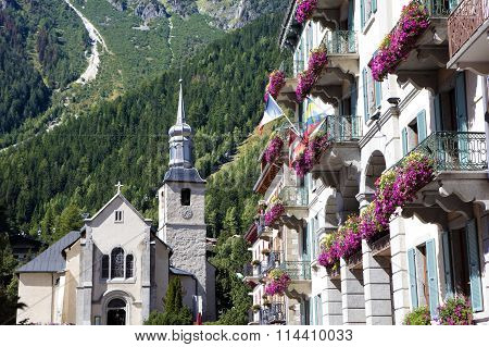 Chamonix Mont Blanc Village Square, France