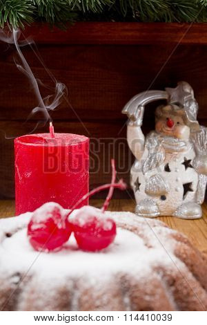 Christmas Candle Extinguished  And New Year Pudding