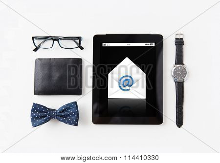 tablet pc with e-male message and personal stuff
