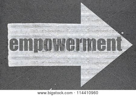 Arrow On Asphalt Road Written Word Empowerment