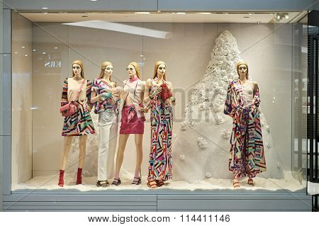 HONG KONG - DECEMBER 25, 2015:  Chanel store in Hong Kong. Chanel S.A. is a French, privately held company owned by Alain and Gerard Wertheimer, grandsons of Pierre Wertheimer