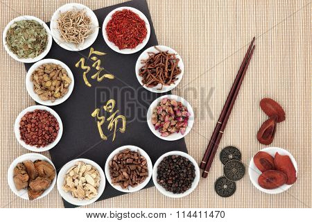 Yin and yang symbols, i ching coins, chopsticks and traditional chinese herbal medicine in white porcelain bowls over bamboo. Translation reads as yin and yang.