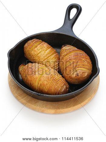 hasselback potatoes on skillet, swedish food