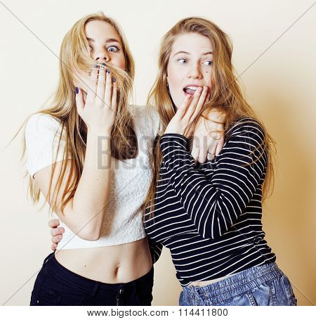 two blond teenage girl fooling around messing hair