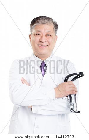 old asian man doctor in white suit with a stethoscope