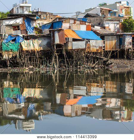 City's Slums view from the Saigon river, Ho Chi Minh City, Vietnam.