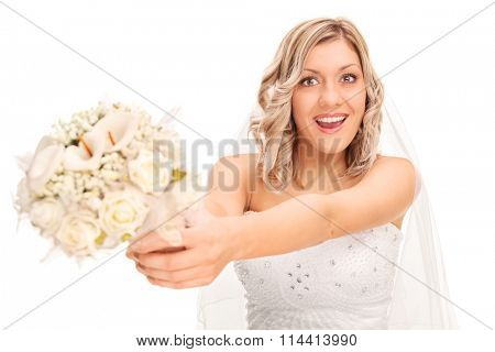 Young excited bride preparing to toss the wedding flower isolated on white background