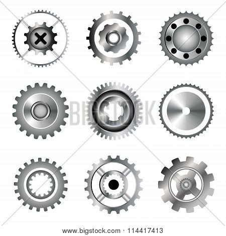 Set of cogwheel and bearings icons