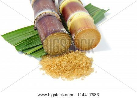 Granulated brown sugar with sugarcane and leaves.