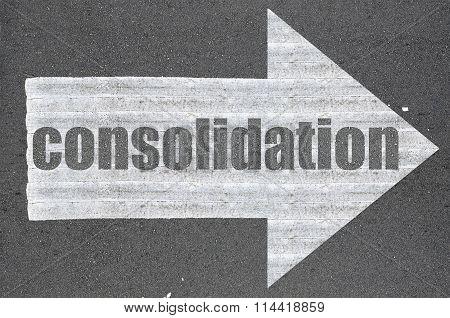 Arrow On Asphalt Road Written Word Consolidation