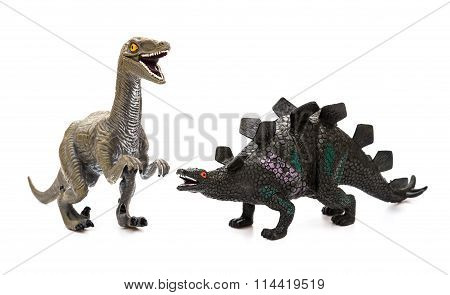 Deinonychus And Toys On A White Background