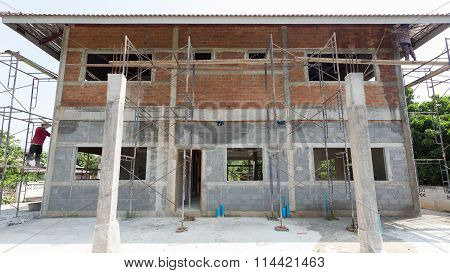 Building Residential Construction House With Scaffold Steel For Construction Worker, Wall Made From