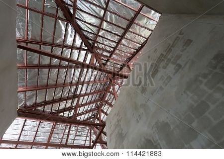 Cement Concrete Wall And Roof With Steel Beam And Silver Foil Insulation In Residential Building Con