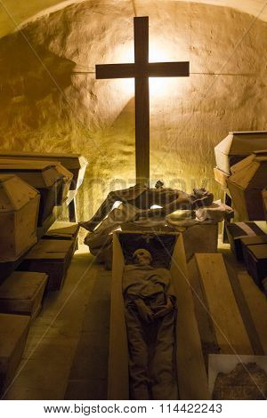 Coffins with the bodies of monks - Holy Cross Monastery, Poland