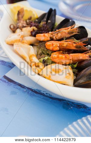 Seafood dish of shrimp and oysters