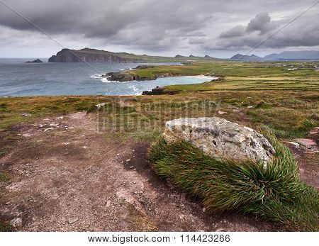 The Irish West coast near Clogher, Dingle, on a stormy and cloudy day