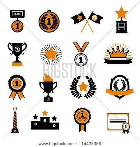Stars And Awards Decorative Icons Set