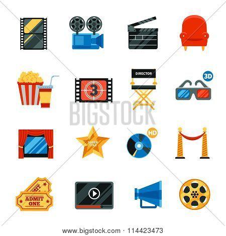 Flat Cinema Decorative Icons Set