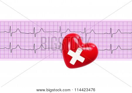 Heart With Cross Sign Over Electrocardiogram Graph On White Background