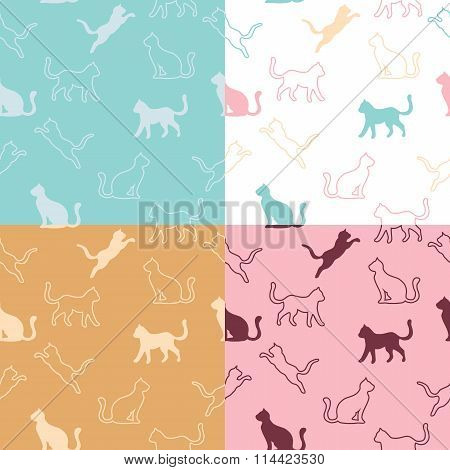 Animal cat silhouettes seamless pattern blue pink beige white illustration vector