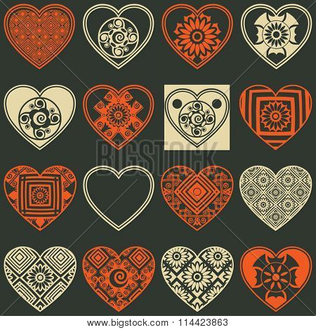 abstract heart icons, vector design elements