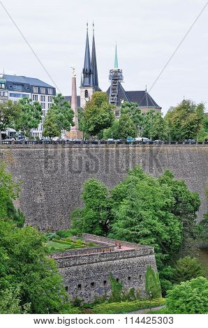 A view of bock casemates from the bridge in Luxembourg City