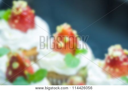 abstact blurred background of the strawberry cupcake