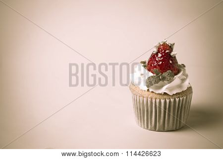 Strawberry Cupcake  with Pistachio And Cream Create With Filter,selective Focus,vintage Tonin