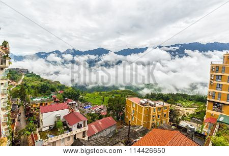 The town of Sapa, Lao Cai, Vietnam in the early morning