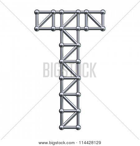 Metal structure alphabet letter T. 3D render.