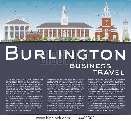 Burlington (Vermont) City Skyline with Color Buildings and Copy Space. Vector Illustration. Business and tourism concept. Image for presentation, banner, placard or web site