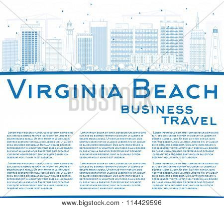 Outline Virginia Beach (Virginia) Skyline with Blue Buildings. Vector Illustration. Business Travel and Tourism Concept. Image for Presentation, Banner, Placard and Web Site.