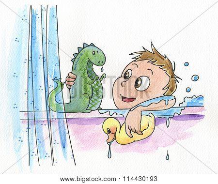 Young boy having a bath
