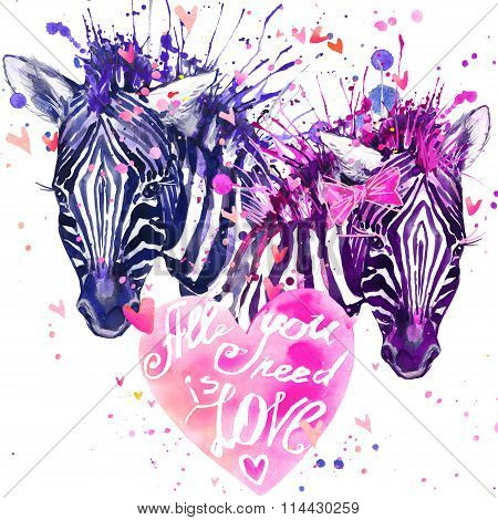 Watercolor zebra illustration. Cute zebra. love card.  Valentine heart. Valentine poster