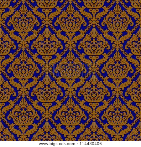Vintage blue and brown seamless pattern background.  Vector illustration