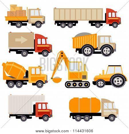 Work Trucks Flat Vector Set