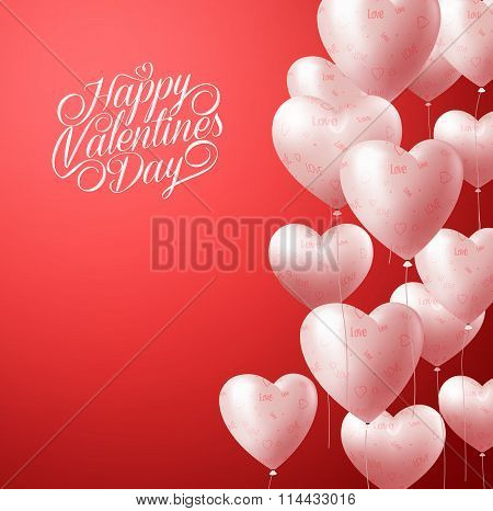 Heart Balloons Flying in Red Background for Valentines Background