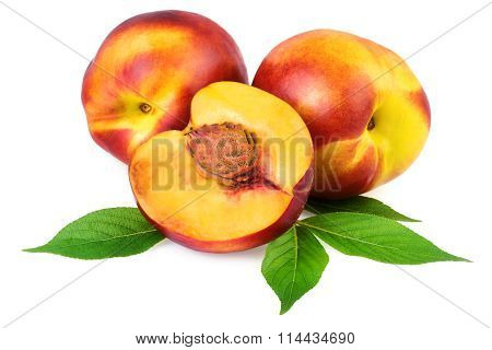 Nectarine Peach Fruits Isolated on White