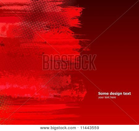 Red Abstract Paint Splashes Illustration. Vector Grunge Background