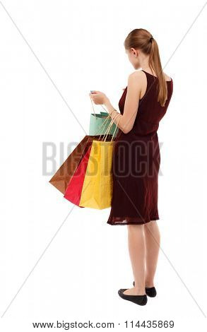 back view of going  woman  in  dress woman with shopping bags . beautiful brunette girl in motion.   Isolated over white background. Girl in a brown dress standing looking at their purchases in bags.