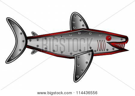 Mechanical Fish Shark On White.