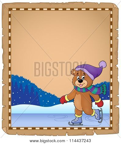 Parchment with ice skating bear - eps10 vector illustration.
