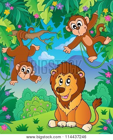 Animals in jungle topic image 6 - eps10 vector illustration.