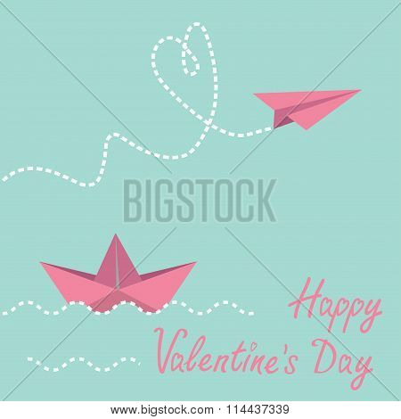 Origami Paper Boat And Paper Plane. Happy Valentines Day Card.