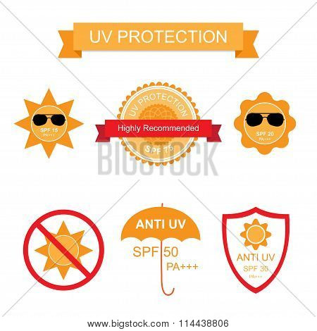 Set of UV Sun Protection and anti UV icons