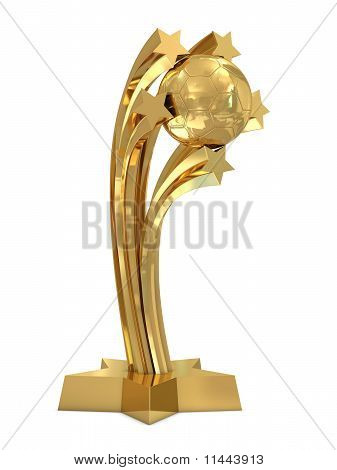 Golden trophy with soccer ball and stars
