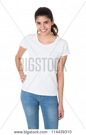 Beautiful Young Woman Wearing Blank White Tshirt